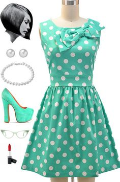 50s Style Mint White Polka Dot Pinup Dress with Bow Neckline Detail   eBay
