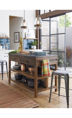 Love the island - great dimensions for a smaller kitchen - the the space it's phographed in too :) Bluestone Kitchen Island | Crate and Barrel