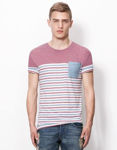 Bershka Turkey - Striped T-shirt with pocket