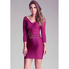 Herve Leger Lila V-Ausschnitt mit langen ?rmeln Sexy Verband Kleid HL091428P