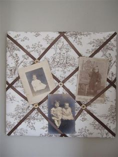 French memo board -- accessorize your photos with some beautiful fabric and ribbons!