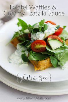 Falafel Waffles & a Creamy Tzatziki Sauce {gluten free} || FitLiving ...