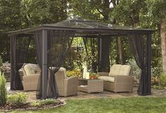 Square Black Aluminum Gazebo with Insect Screen. Perfect for spending time outdoors in the day or night!