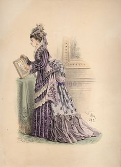 Fashion plate, 1870's. Beautiful lavender bustle style dress!