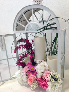 A pink and white floral lantern. Adorna Design at TerrAdorna.