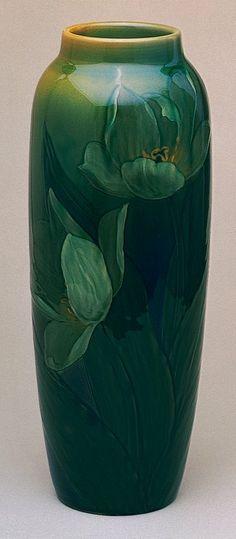 Blue-Green Floral Pottery Vase.