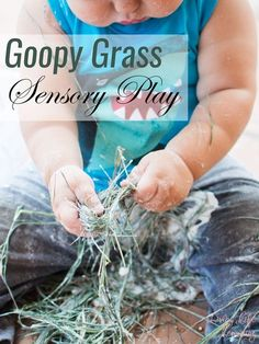 Quick and simple messy activities for toddlers: Three simple ingredients make for a ton of fun with this Goopy Grass Sensory Play activity!  #sensoryplay #toddlers #spring #kidsactivities