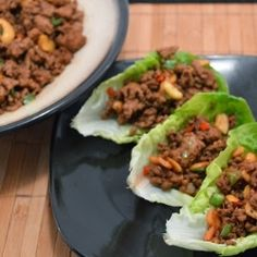 Chinese Pork Lettuce Wraps by MrsEllwood. I added shredded cabbage and carrots. Pork Recipes, Asian Recipes, New Recipes, Healthy Recipes, Favorite Recipes, Dinner Recipes, Pork Lettuce Wraps, Chinese Pork, Pork Dishes