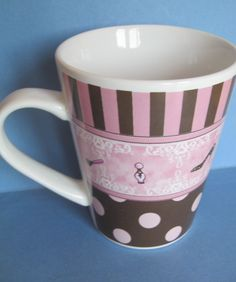 Diva Pink Brown Coffee Mug Perfume Shoes Makeup Purse Stripes Dots Blue Harbor
