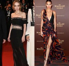 These gorgeous girls know how to show a little skin with class on the #Cannes red carpet @lilyrose_depp in @chanelofficial and @kendalljenner in @versace_official #cannes2016 #tooprettyforwords #geneticallyblessed