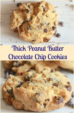 Thick Peanut Butter Chocolate Chip Cookies, so easy the best you will every eat, soft and full of chips. I have to go make some more! via @https://it.pinterest.com/Italianinkitchn/