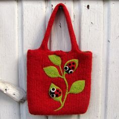 Felted bag purse red wool pouch hand knit needle by HandmadebyMia, $40.00