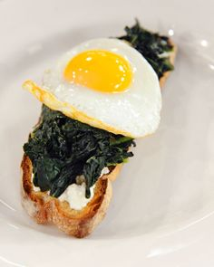 Egg, Kale, and Ricotta on Toast    Lightly sauteed greens transform a standard egg-and-toast breakfast into a special morning meal filled with calcium, folic acid, and carotenoids, as well as vitamin K.