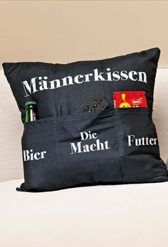 """Kissen """"Männerkissen"""" """"Cuddly pillow"""" with a special filling This pillow is a blessing: It is not only soft and comfortable, but also has three outer pockets that can be filled with three extremely im Man Pillow, Diy Crafts To Do, Embroidered Clothes, Cheap Gifts, Gift Vouchers, 1st Birthdays, Valentine Gifts, Special Gifts, Are You Happy"""