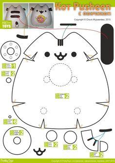 Pusheen Cat with Donut Plush Pattern Kawaii Diy, Kawaii Crafts, Cute Crafts, Felt Crafts, Paper Crafts, Diy Crafts, Sewing Toys, Sewing Crafts, Sewing Projects