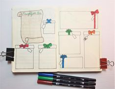 Christmas Bullet Journal page layouts for December. Bullet Journal Gift List, Bullet Journal Christmas, Bullet Journal Layout, Bullet Journal Inspiration, Christmas Gift List, Christmas Crafts, Binder Organization, Organizing, Mood Tracker