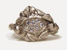 Katherine Bowman - 18ct white gold Love Token ring set with white diamonds.