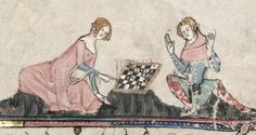 Chess players. Bodleian Ms. 264 manuscript, folio 92v. Below the 6x6 chequered board, the outlines of another - correct 8x8 - board are shown! For what reason did the illuminator change his mind to present a faulty chess board?