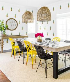 Get inspired by Eclectic Dining Room Design photo by Chango & Co. Wayfair lets you find the designer products in the photo and get ideas from thousands of other Eclectic Dining Room Design photos. Pineapple Deco, Pineapple Kitchen, Wicker Furniture, Outdoor Furniture Sets, Coastal Furniture, Design Furniture, Furniture Decor, Beach House Decor, Diy Home Decor