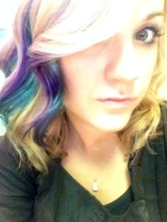 Teal and purple hair