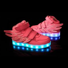 57f0c5593cd32 Rose Chaussure Lumineuse Led Avec Des Ailes Enfant Multicolor Chaussures  Lumineuses