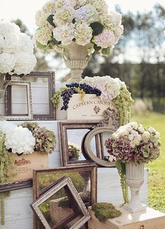 Curated vignettes. Make a personal statement of style with strategically placed curated vignettes. These group décor displays are perfect for a guest book set up, gift table, or just adding a dose of pretty to your big day.