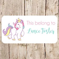 Unicorn stickers School name labels labels for by Labelin on Etsy Name Tag For School, School Name Labels, School Supplies Highschool, Diy School Supplies, Chico California, Custom Printed Labels, Printing Labels, Unicorn Stickers, Name Stickers