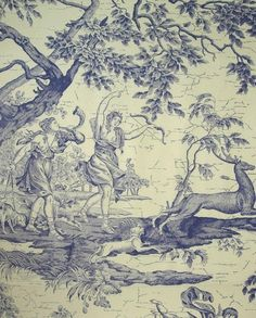 La Chasse Fabric Traditional French Toile of Diane the Huntress in blue on ecru cotton