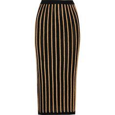 Balmain Striped stretch-knit skirt ($655) ❤ liked on Polyvore featuring skirts, balmain, bottoms, black, mid-calf skirts, stretch knit skirt, striped skirt, stripe midi skirt and calf length skirts