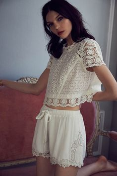 11 NEW Ways To Wear Shorts #refinery29 http://www.refinery29.com/shorts-outfits#slide3 Pair Lace With LaceLace detailing makes loungewear sophisticated, and we love white-on-white for summer. Pair the two together and you've got a good-looking set that will take you from morning to night.