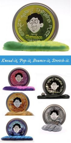 Knead-it, Pop-it, Bounce-it, Stretch-it. Each tin contains an adult handful (1/5 pound) of putty for playing or exercising. Set of 3.