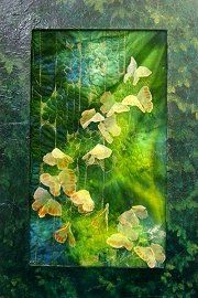 A Cloud of butterflies  by Doreen Wood -   Machine embroidery on dyed silk velvet #mixed_media #textile_art