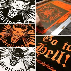 Tattoo design in various colours screen printed for Hotter than Hell tattoo studio in Scotland! #tshirts #screenprinting #tattoo #hell #gotohell