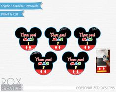 Mickey Mouse Head Birthday Favors Tags Mickey by RoxCreativeDesign