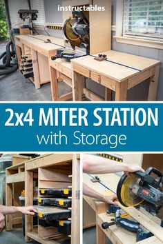 garage workshop Miter Station + Storage Out of For the longest time, an entire wall in my shop was taken up by my miter saw and its stand. I wanted to build a solution that woul Garage Workshop Organization, Diy Garage Storage, Diy Workshop, Storage Organization, Workshop Bench, Lumber Storage, Workshop Storage, Workbench Plans Diy, Woodworking Bench Plans