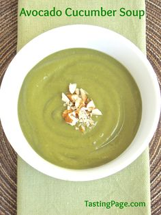 This cool avocado cucumber soup is dairy free and vegan and perfect for a warm day | TastingPage.com