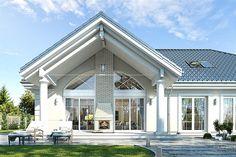 Projekt domu Willa Parkowa 4 165,77 m2 - koszt budowy - EXTRADOM Bungalow House Design, Tiny House Design, Modern House Design, Beautiful House Plans, Modern House Plans, American Style House, Classic House Exterior, House Design Pictures, Front Porch Design