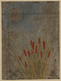 Shibata Zeshin, Cattails and Moon, 19th century. Album leaf; lacquer on silver paper.