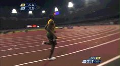 haha Bolt extends the baton to an official and then pulls it away. PSYCHE