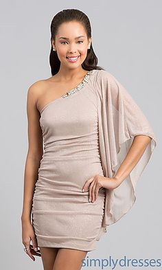I love the batwing sleeve. One Shoulder Short Ruched Dress at SimplyDresses.com