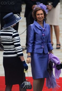 Queen Sofia of Spain in royal purple skirt suit!