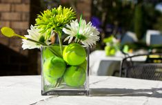 Wedding Theme Table pieces perfect for a tennis-themed wedding!