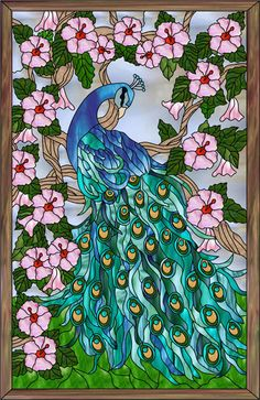 Peacock Stained Glass | Peacock 2 Faux Privacy Stained Glass Clings and Window Films