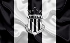 Download wallpapers Sandecja Nowy Sacz FC, 4k, Polish football club, logo, emblem, Ekstraklasa, Polish football championship, silk flag, Nowy Sacz, Poland