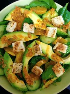 Blood Orange and Avocado Salad with Garlic and Herb Croutons and Bruschetta Dressing