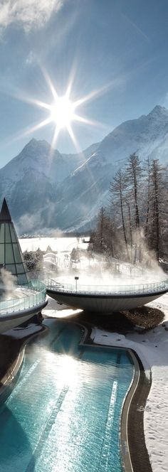 The Aqua Dome thermal resort in in the heart of the Tirolean Alps, Längenfeld, Austria.