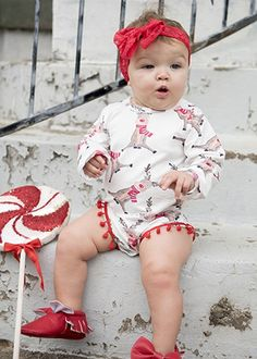 Christmas reindeer print pom pom romper for toddler and baby girls. Toddler Boutique Clothing, Wholesale Children's Boutique Clothing, Girls Boutique, Tutus For Girls, Girls Rompers, Cute Girls, Baby Rompers, Baby Girls, Girls Christmas Outfits