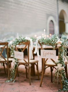 Bride and groom's chairs Sposa Sposo Decorating With Herbs, Bride Groom Table, Destination Wedding, Wedding Venues, Tuscan Wedding, Bridal Boudoir, Elopement Inspiration, Wedding Chairs, Reception Table