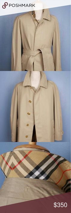 "Sold! Mens Burberry coat Beige AUTHENTIC ?Pre-loved Burberry London Single Breasted, gabardine, ?Belted Trench Overcoat Raincoat with classic Burberry check lining.  Marked as a U.K. 52. Fits as an American size 42 or a men's medium.  This is NOT a new coat and is not as ""slim cut"" as the newer versions. It is a classic 100% authentic Burberry coat that has been professionally altered to a more modern style, thigh length. Truly eco-friendly and sustainable fashion. Burberry Jackets & Coats…"