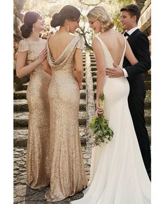 Online Shop Sparkly Mermaid Gold Bridesmaid Dresses Long Sequin Bridesmaid  Dress With Sleeves Women Bridesmaid Gowns Elegant Prom Dress B26 795c47899611
